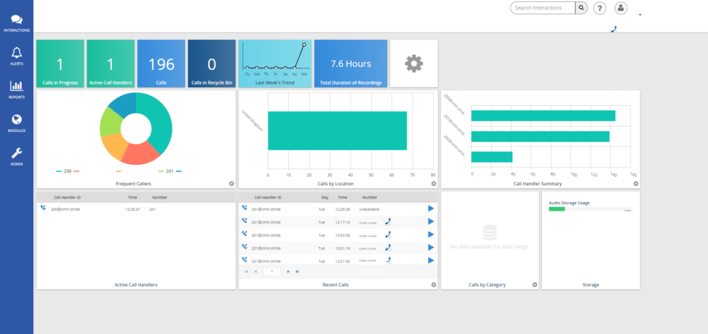 business call recording dashboard